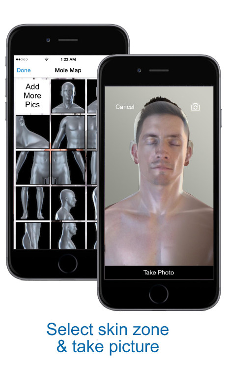 Select Skin Zone and Take Picture - skin mapping with Compariskin